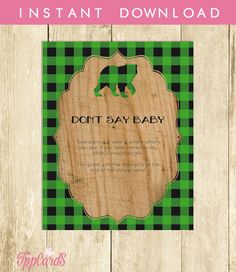 Don't Say Baby Game Baby Shower Games Printable Lumberjack Don't Say Baby Sign Diaper Pins Clothes Pins Game Instant Download 0008A-GB by TppCardS #tppcards #printable #invitations
