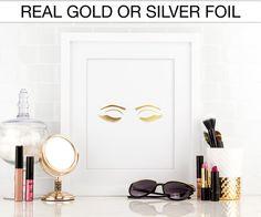 Eyelashes, eyes, makeup, Gold foil print, Real Foil Print, Silver foil, Home Decor, Wall Art, Gallery wall, Closet decor