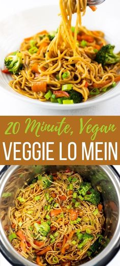 This Instant Pot Vegetable Lo Mein is vegan, full of flavor, and ready in 20 minutes! | Instant Pot Noodles | Healthy Takeout | Chinese Food | Kid friendly noodles | pipingpotcurry.com Vegan Recipes Instant Pot, Instapot Vegan Recipes, Instant Pot Chinese Recipes, Instant Pot Pasta Recipe, Best Instant Pot Recipe, Vegan Recipes Easy, Vegetarian Recipes, Vegan Lo Mein, Vegetarian Lo Mein