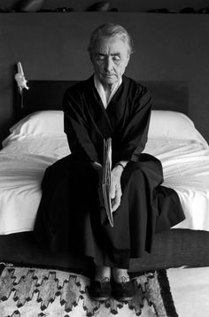 Leonard Baskin, Georgia O'Keeffe Holding a Book, bedroom, Abiquiu, 1966