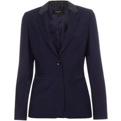 Paul Smith Women's Navy Wool Blazer With Honeycomb-Jacquard Trims (76475 RSD) ❤ liked on Polyvore featuring outerwear, jackets, blazers, navy, navy jacket, wool blazer, honey comb, navy wool jacket and navy blue blazer