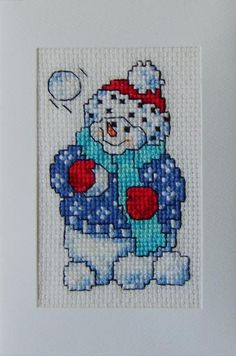 Cross Stitch Card Snowman by elena3 for $2.50