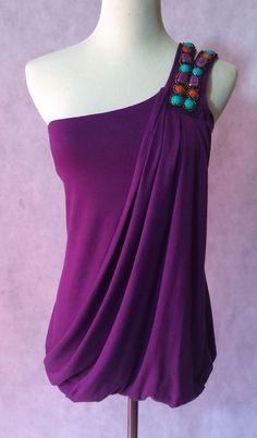 Purple One Shoulder Embellished Top by Studio Y Size S | eBay