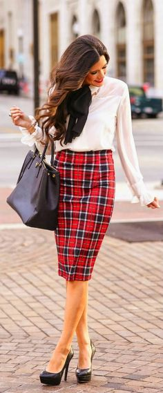 PLAID TIDINGS - plaid pencil skirt, white sleeve blouse, leather handbag, steve madden Pumps by The Sweetest Thing