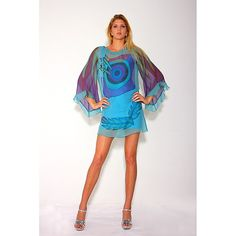Hand painted,loose fitted silk chiffon dress (back ground colour aqua) ,long flair sleeves with string bow on one shoulder. Body fitted spandex under dress,with scoop neck and arm holes. Hand painted the bulls eye patten.