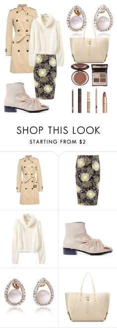 """""""trench coats"""" by shannongarner ❤ liked on Polyvore featuring Burberry, Boohoo, ZAC Zac Posen and Charlotte Tilbury"""