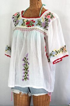 """Siren's sleeve Cotton """"La Marina"""" Hand-Embroidered Vintage-Mexican Style Peasant Top/blouse in Classic White with Multi-Color Embroidery. Hand dyed, distressed, crocheted and embroidered for an authentic, retro-vintage feel. Peasant Blouse, Blouse Dress, Peasant Tops, Look Boho, Bohemian Style, Boho Chic, Gypsy Chic, Mexican Blouse, Mexican Dresses"""