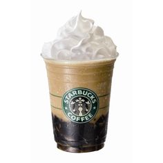 Coffee Jelly Frappuccino: Coffee jelly coffee-based Frappuccino, and whipped cream at Starbucks in Japan