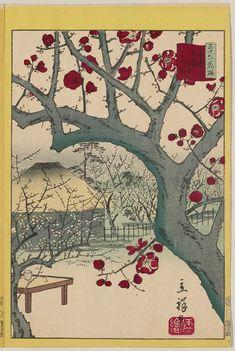 Utagawa Hiroshige II in 5 Populirazion of ukiyo-e 3 Utagawa Hiroshige II: Red Plum at Ômori Yamamoto in Tokyo (Tôkyô Ômori Yamamoto kôbai), from the series Thirty-six Selected Flowers (Sanjûrokkasen) - Museum of Fine Arts Japanese Artwork, Japanese Prints, Illustration Arte, Illustrations, Japanese Woodcut, Japan Painting, Art Asiatique, Art Japonais, Japan Art