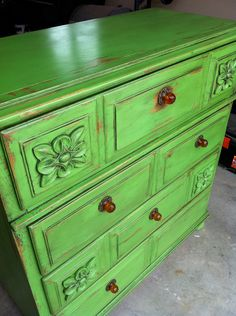 green shabby chic dresser by TheMuffincupBoutique on Etsy