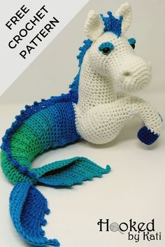Murdock the KelpieFree Kelpie amigurumi crochet pattern! Also called a water horse, merhorse, or hippocampus, this fantasy creature hails from the lochs of Scotland. Hooked by Kati This amigurumi pattern features short row or short rounds to natura Crochet Animal Amigurumi, Crochet Gratis, Crochet Animal Patterns, Crochet Amigurumi Free Patterns, Stuffed Animal Patterns, Cute Crochet, Crochet For Kids, Crochet Animals, Crochet Dolls