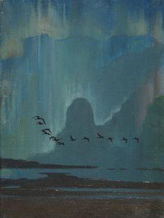 """Sir Peter Markham Scott (1909-1989) Flying Geese Against the Aurora """