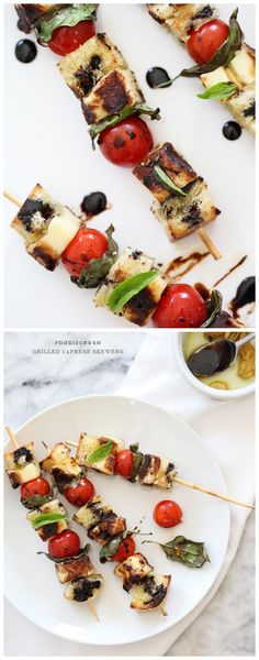 Grilled Cheese Caprese Skewers #recipe on foodiecrush.com