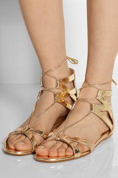 Aquazzura | Beverly Hills mirrored-leather flat sandals | NET-A-PORTER.COM