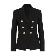 Look Balmain Double-breasted basketweave cotton blazer Black Blazers, Blazers For Women, Suits For Women, Jackets For Women, Clothes For Women, Women Blazer, Fashion Mode, New Fashion, Fashion Outfits
