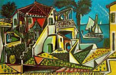 Paisaje mediterraneo. 1952. Óleo sobre lienzo. 81 x 125 cm. Antes Galerie Beyeler. Basilea. Suiza. Obra de Pablo Ruiz Picasso