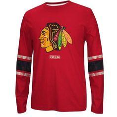 a5a69e302 CCM Chicago Blackhawks Red Logo Long Sleeve Crew T-Shirt