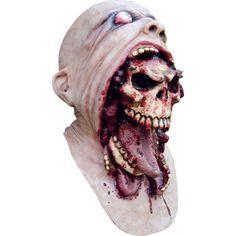 Masque intégral d'homme avec tête de mort sortant de la bouche en latex, entirèrement peint à la main de marque Ghoulish.