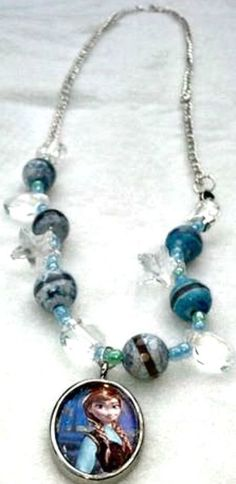 Girl's Frozen inspired Necklace and 2 stretch bracelets. Handmade.3 for 1 price.