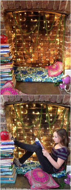 Pillow or fuzzy rug and twinkle lights with sheer curtain pulled back for basement fireplace nook. Unused Fireplace, Bedroom Fireplace, Faux Fireplace, Fireplace Design, Fireplace Ideas, Basement Fireplace, Decorative Fireplace, Fireplaces, Upcycled Furniture
