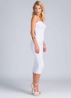Keep It Simple Tube Midi Dress WHITE