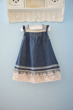 f003d30417 Fall dress denim and vintage lace antique flower girl baby country wedding  shabby chic rustic burlap bow 12 18 24 month 2t