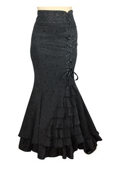 Fishtail Ruffles Skirt by Patricia Sipes Altered by Amber Middaugh $59.95  Plus Size 69.95 #Victorian #Goth #Steampunk
