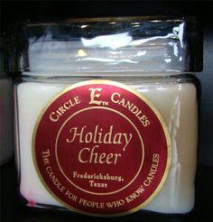 NEW CIRCLE E CANDLE HOLIDAY CHEER 28 oz JAR 165 HOURS BURN TIME CINNAMON SPICE #CircleE