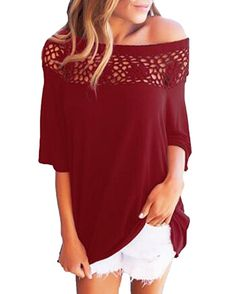 49baf438354 Kidsform Women Off Shoulder Tops Crochet Short Sleeve Basic Blouses Loose  Oversized Solid T-Shirt