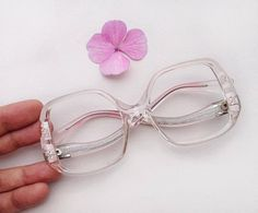 03d270cda3d 70s LORIS AZZARO eyeglasses frames   Vintage deadstock floral frames    lucite butterfly squared sunglasses   clear hippie rhinestones frame