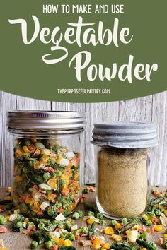 How to make and use vegetable powders - don& let those frozen veggies get killed by the Frost Monster . put them to good use for all the things that you cook. Get ideas on how to use vegetable powder in your everyday cooking. Dehydrated Vegetables, Dried Vegetables, Dehydrated Food, Fruits And Veggies, Homemade Spices, Homemade Seasonings, Plat Vegan, Do It Yourself Food, Dehydrator Recipes
