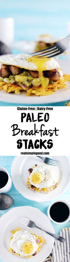 These paleo breakfast stacks are a new favorite. I especially love them on a weekend morning, when there is that extra bit of time to really enjoy them! Egg, sausage, guacamole, and plantain hash browns, what's not to love? Paleo, Gluten-Free + Dairy-Free. | realsimplegood.com