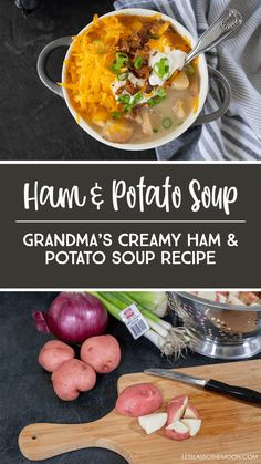 This creamy ham and potato soup recipe is a family favorite passed down from Grandma. This potato soup recipe is perfect for a chilly day; it is literally comfort food in a bowl. *My kids love this recipe! Cream Of Potato Soup, Loaded Potato Soup, Loaded Baked Potatoes, Classic Potato Soup Recipe, Basic Soup Recipe, Homemade Egg Noodles, Grilled Ham, Quick And Easy Soup, Ham Soup