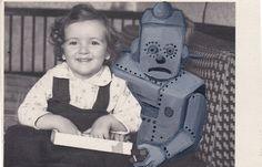 cursedbycreativity:  Original Mixed Media Art - Handpainted Vintage Photograph done in Oils - Just Add Robots! by BlissFarm (10.00 USD) http://ift.tt/1qo2mZs