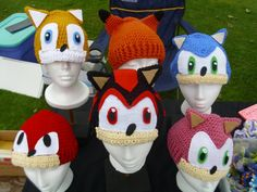 Sonic The Hedgehog Character Hats by Chandria on Etsy, $25.00 so cute I want sonic and Amy and shadow