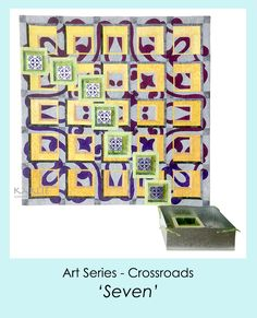 'Seven' is a textiles art with seven sheet metal boxes that form a trail down the surface of this grid pattern design. www.karlienorrishmcchesney.com