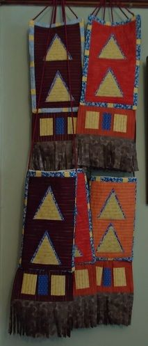 For a American themed dinner party-gifts for the guests.  Bags and wall hangings based on Native American Mirror bags