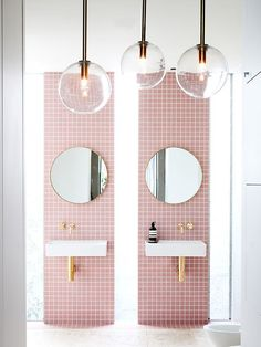 Seeing as though I have been dealing with a hideously pink bathroom for years now I will never do a pink tile, but this does look nice.