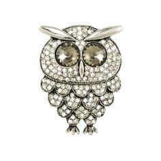 Snowy Owl Swarovski Crystal Silver Tone Brooch