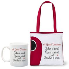 A great teacher mug and tote bag combo Available in navy, red, pink, grey and lime green @ R160 per combo