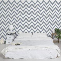 streifentapete vliestapete grau wei zickzack gestreifte zick zack tapete breit - Grazios Blaues Schlafzimmer Entwurf