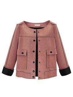 Vintage Women Suede Long Sleeve Single Breasted Short Jacket