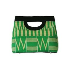 NOVICA Green African Kente Cloth Clutch Bag, 'Morning Dew' ❤ liked on Polyvore featuring bags, handbags, clutches, african print handbags, top handle bags, african print purse, african handbags and handle bag