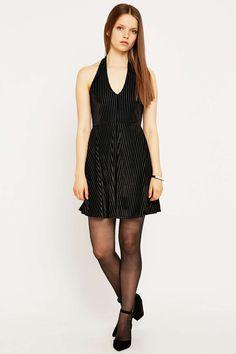 Pins & Needles Corduroy Velvet Halter Neck Flippy Dress