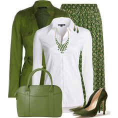 Green by daiscat on Polyvore featuring moda, NIC+ZOE, Dorothy Perkins, Ganni, Osprey London, Pim + Larkin and Alexis Bittar