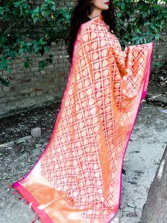 Banarasi Art Silk Dupatta Leaf Pattern- Light Pink