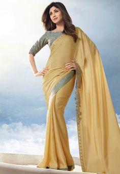 Shilpa Shetty Border Work Saree with Blouse Bollywood Sarees Online, Bollywood Designer Sarees, Shilpa Shetty Saree, Sonakshi Sinha, Golden Saree, Plain Saree, Saree Shopping, Elegant Saree, Work Sarees