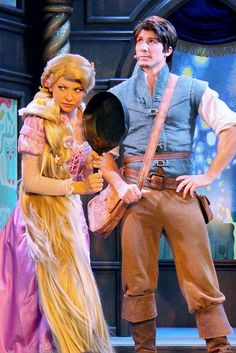 Super cute photo of Rapunzel and Flynn in the new Tales of Rapunzel in the Royal Theatre at Fantasy Faire. Walt Disney, Disney Tangled, Disney Love, Disney Magic, Disney Parks, Disney Pixar, Disney Fairies, Rapunzel Cosplay, Rapunzel And Eugene
