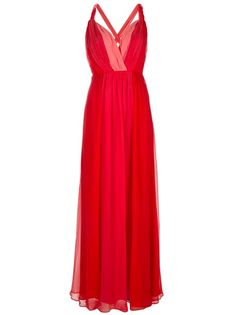 Red and coral two-tone silk-chiffon gown from Halston Heritage featuring twisted shoulder straps, low-v-neck, cross-over straps at open-back with self-tie and pleating at bust.  The dress has concealed zip and hook and eye to the back for closure and is fully lined.