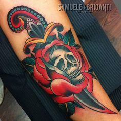 Dagger, Rose, Skull American Traditional Tattoo